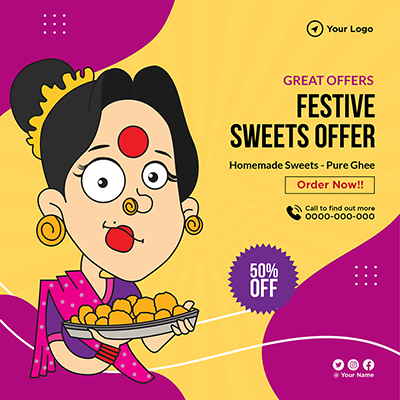 Festive sweets offer banner template