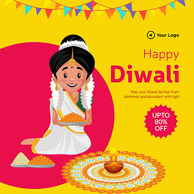 Flat banner of happy Diwali with offer template