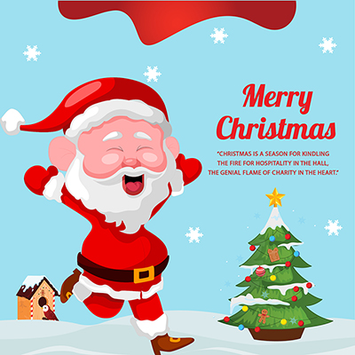 Flat banner template of merry christmas festival