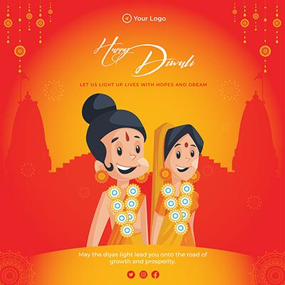 Flat design of happy Diwali festival on template