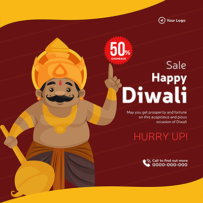Flat design of happy Diwali with sale banner template