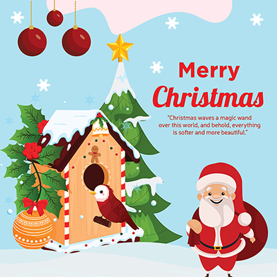 Flat template banner of merry christmas festival
