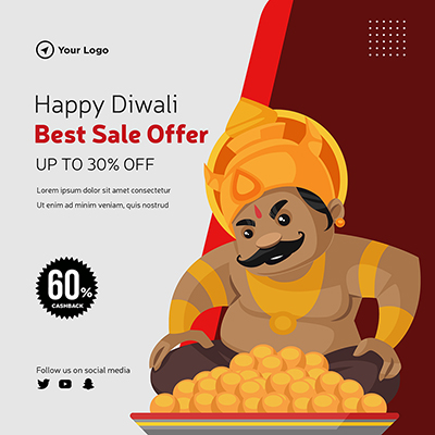 Flat template design of happy Diwali best sale offer