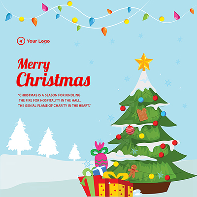 Flat template for merry christmas festival