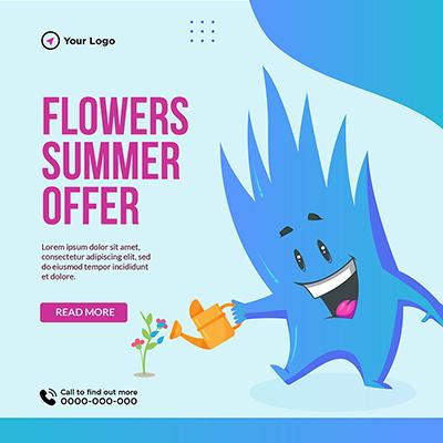 Flowers summer offer banner template
