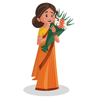 Goddess Sita is holding a flower bouquet in hands