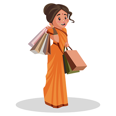 Goddess Sita is holding shopping bags in hands