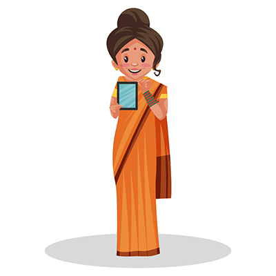 Goddess Sita is showing a mobile phone
