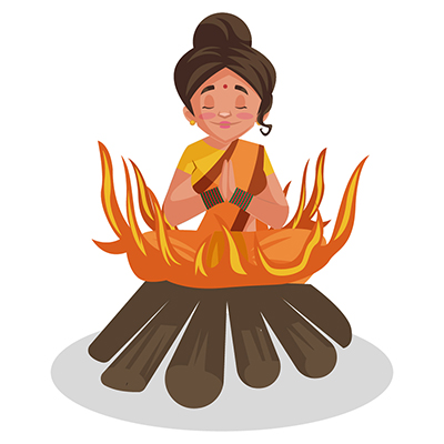 Goddess Sita is sitting in the fire
