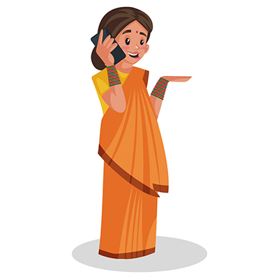 Goddess Sita is talking on a mobile phone