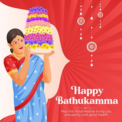 Happy Bathukamma Telangana festival template banner