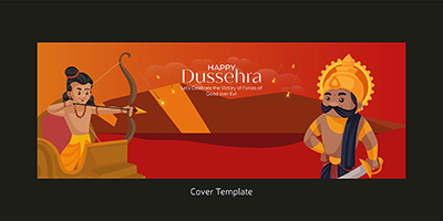 Happy Dussehra on a coverpage template