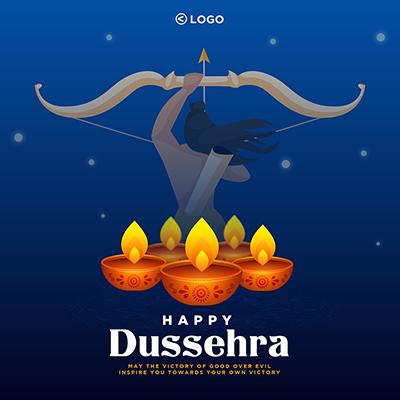 Happy Dussehra on creative banner template design