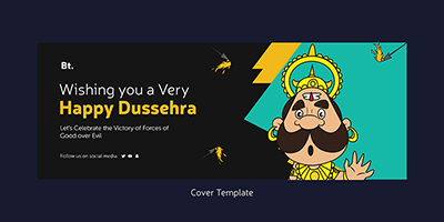Happy Dussehra wishes facebook cover page template