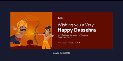 Happy Dussehra wishes facebook cover template