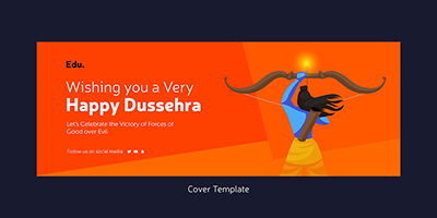 Happy Dussehra wishes facebook coverpage template