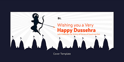 Happy Dussehra wishes on a cover template