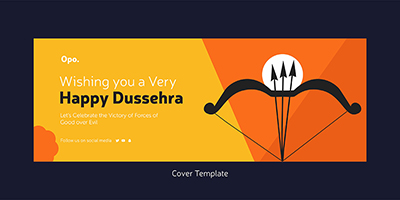 Happy Dussehra wishes with the cover template