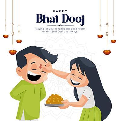 Happy bhai dooj on a banner template