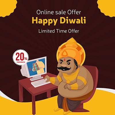 Happy Diwali banner template online sale offer