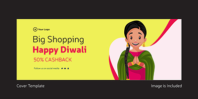 Happy Diwali big shopping cover template