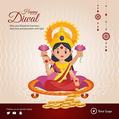 Happy Diwali celebrations flat template banner