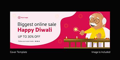 Happy Diwali cover template biggest online sale
