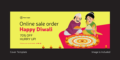 Happy Diwali cover template online sale offer
