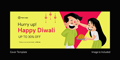 Happy Diwali facebook flat cover page template