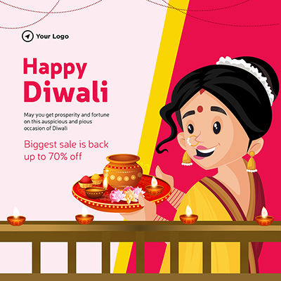 Happy Diwali with biggest sale template banner