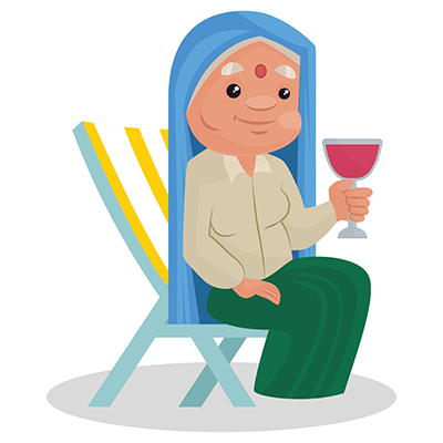 Haryanvi Woman is sitting on the chair and drinking cold drinks