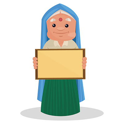 Haryanvi woman is holding a blank board in hand