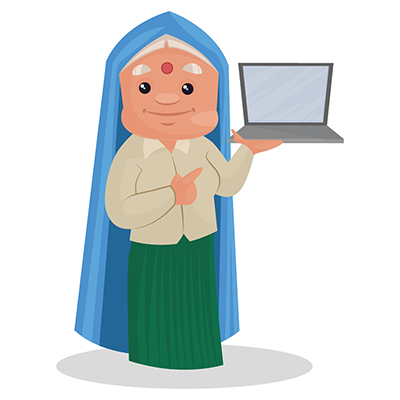 Haryanvi woman is holding a laptop in hand