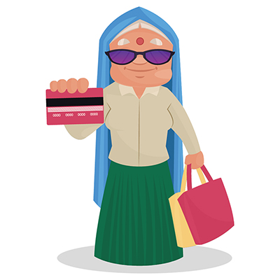 Haryanvi woman is holding card and shopping bags in hands