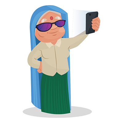 Haryanvi woman is taking a selfie with phone