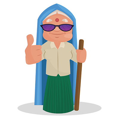 Haryanvi woman is wearing sunglasses and showing thumbs up
