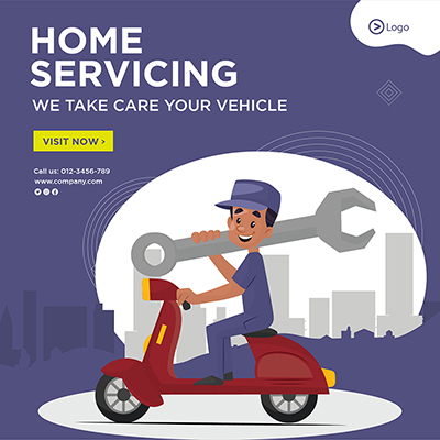Home servicing take care of vehicle template banner