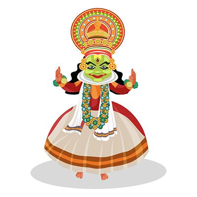 Kathakali dancer is dancing on the toes