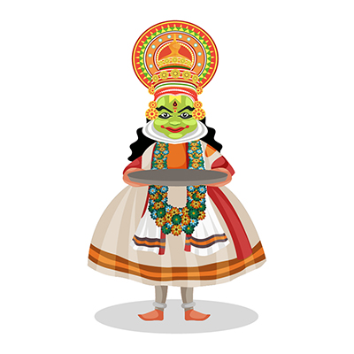 Kathakali dancer is holding a plate in hands