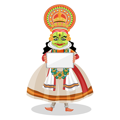 Kathakali dancer is holding a whiteboard in hands