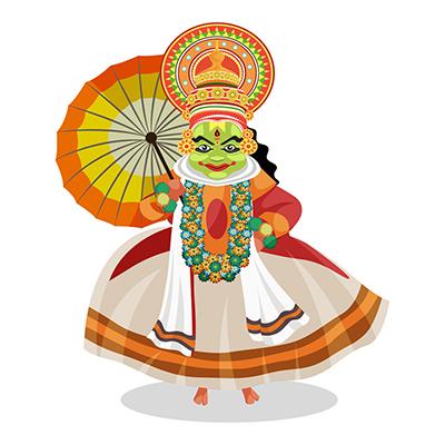 Kathakali dancer is holding an umbrella