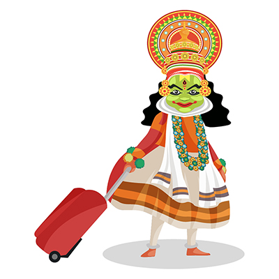 Kathakali dancer is walking with a suitcase