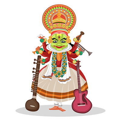 Kathakali dancer is with musical instruments