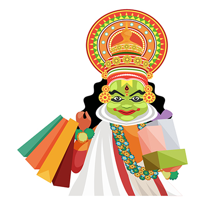 Kathakali dancer is with shopping bags and boxes