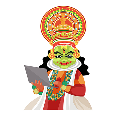 Kathakali dancer is working on a laptop