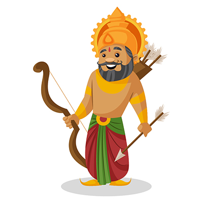 King Dasharatha is holding a bow and arrow in hands