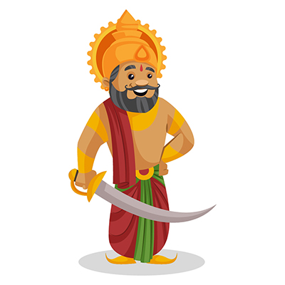 King Dasharatha is holding a sword in hand