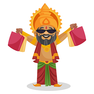 King Dasharatha is holding shopping bags in hands