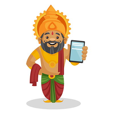 King Dasharatha is showing a mobile phone