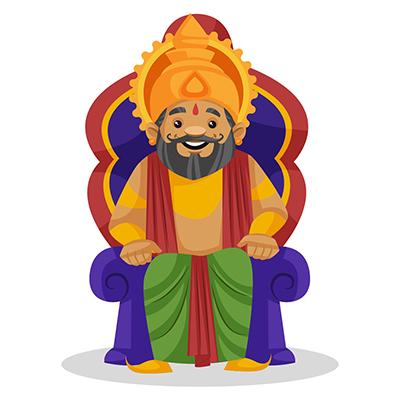 King Dasharatha is sitting on the throne